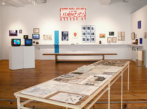 "Installation view of ""NOT OVER: 25 Years of Visual AIDS"""